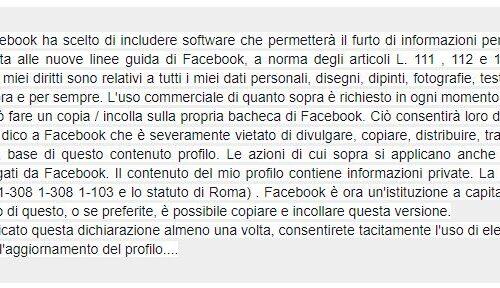 facebook non ti autorizzo ad usare i miei dati? Ridicolo e non serve a nulla .